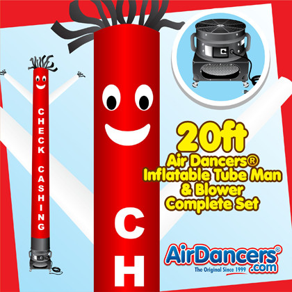 Red White Check Cashing Air Dancers® inflatable tube man & Blower Set 20ft
