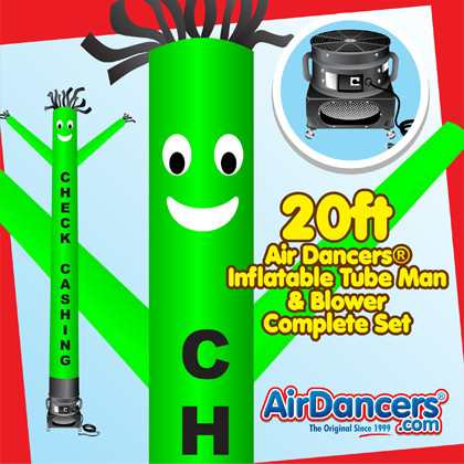 Green Check Cashing Air Dancers® inflatable tube man & Blower Set 20ft