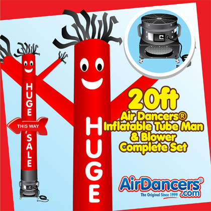 Red Huge Sale Arrow Shape Air Dancers® inflatable tube man & Blower Set 20ft
