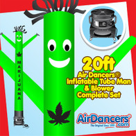 Green Marijuana Air Dancers® inflatable tube man & Blower Set 20ft
