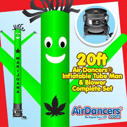 Green Marijuana Air Dancers® inflatable tube man & Blower Set 20ft
