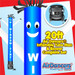 Blue White Window Tint Air Dancers® inflatable tube man & Blower Set 20ft