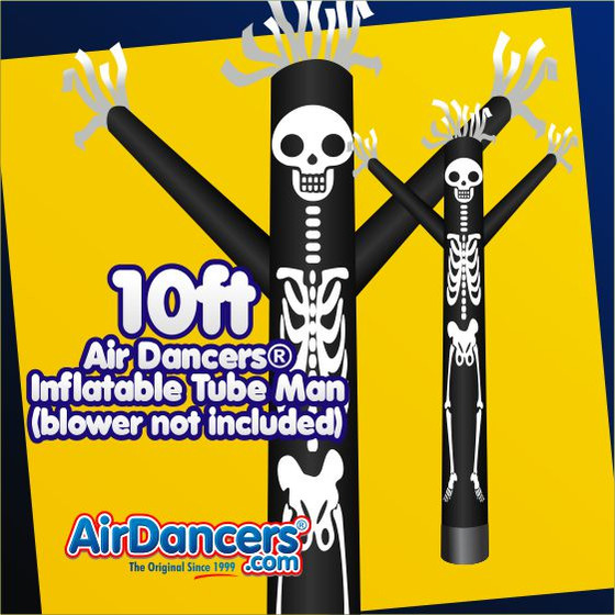 Halloween Skeleton Air Dancers® Inflatable Tube Man Attachment 10ft