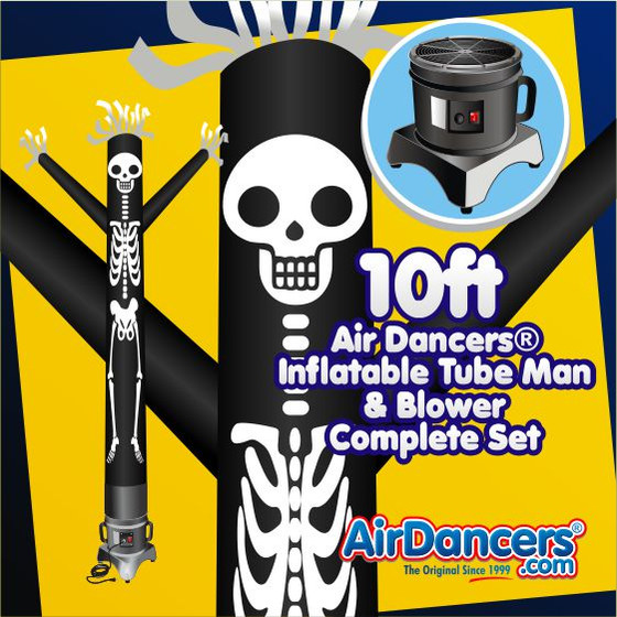 Halloween Skeleton Air Dancers® Inflatable Tube Man & Blower 10ft Set