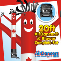 Canadian Flag Themed USA Air Dancers® inflatable tube man and Blower Complete Set by AirDancers.com