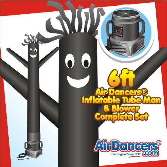 Black Air Dancers® Inflatable Tube Man & Blower 6ft Set