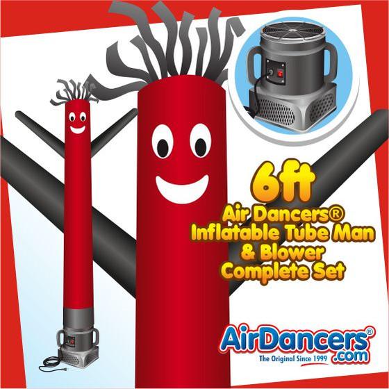 Red & Black Air Dancers® Inflatable Tube Man & Blower 6ft Set