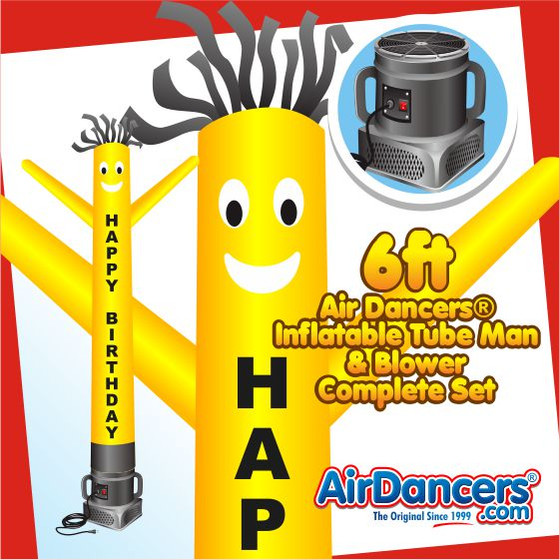 Happy Birthday Yellow Air Dancers® Inflatable Tube Man & Blower 6ft Set
