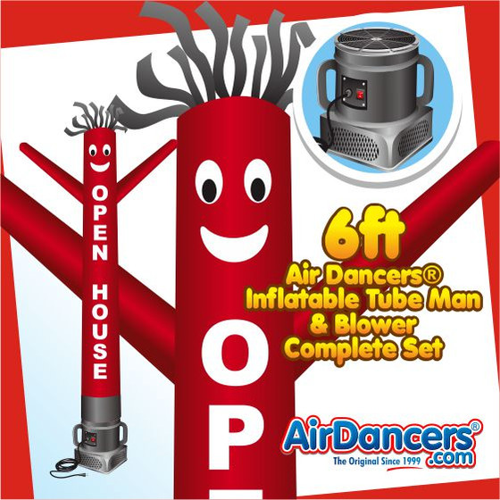 Open House Red Air Dancers® Inflatable Tube Man & Blower 6ft Set