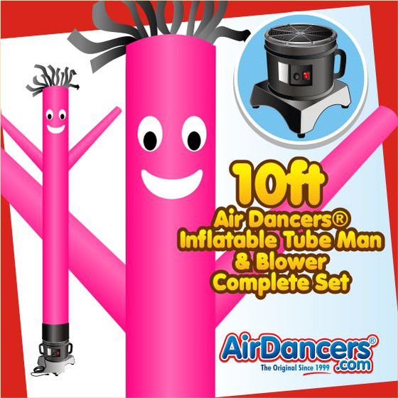 Pink Air Dancers® Inflatable Tube Man & Blower 10ft Set