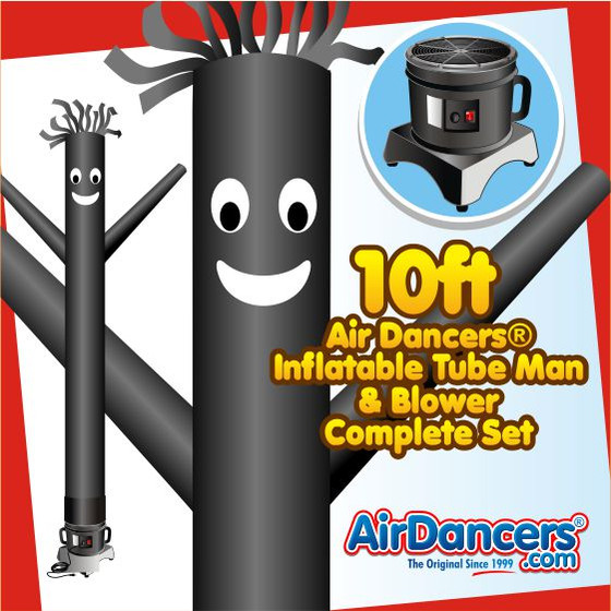 Black Air Dancers® Inflatable Tube Man & Blower 10ft Set