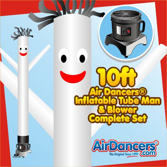 White Air Dancers® Inflatable Tube Man & Blower 10ft Set