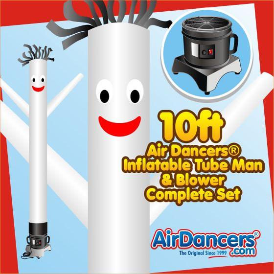 White Air Dancers® Inflatable Tube Man & Blower 10ft Set