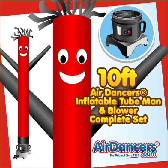 Red with Black Arms Air Dancers® Inflatable Tube Man & Blower 10ft Set