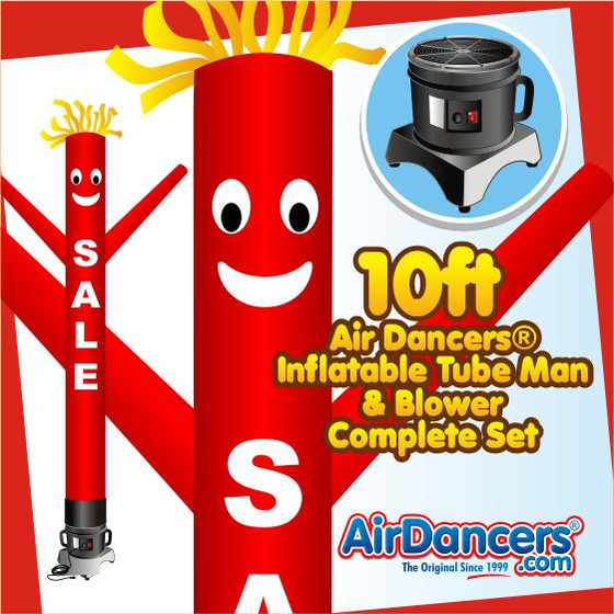 Red Sale with White Letters Air Dancers® Inflatable Tube Man & Blower 10ft Set