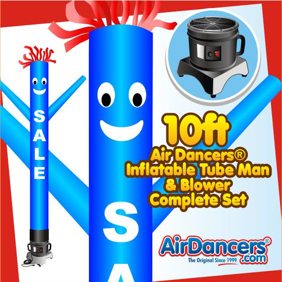 Blue Sale with White Letters Air Dancers® Inflatable Tube Man & Blower 10ft Set