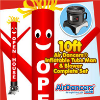 Red Open House Air Dancers® Inflatable Tube Man & Blower 10ft Set