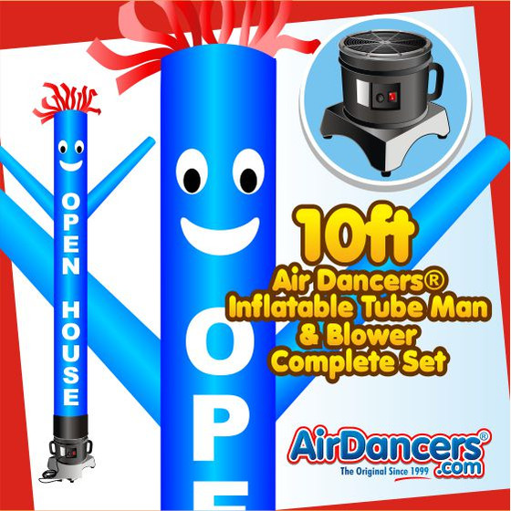 Blue Open House Air Dancers® Inflatable Tube Man & Blower 10ft Set