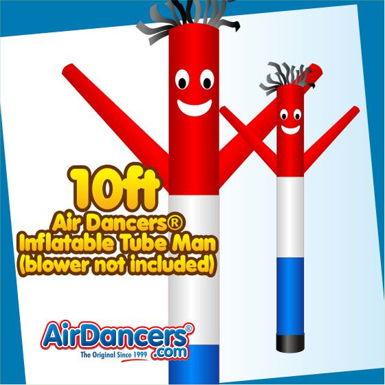 Red White Blue Air Dancers® Inflatable Tube Man 10ft Attachment