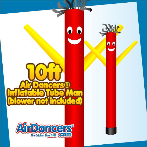 Red Yellow Air Dancers® Inflatable Tube Man 10ft Attachment