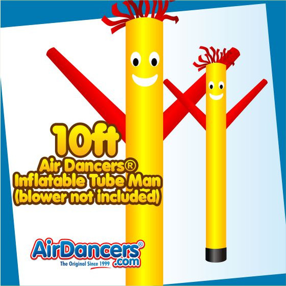 Yellow Red Air Dancers® Inflatable Tube Man 10ft Attachment