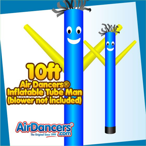 Blue Yellow Tube Air Dancers® Inflatable Tube Man 10ft Attachment