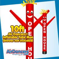 Red OPEN HOUSE Air Dancers® Inflatable Tube Man 10ft Attachment