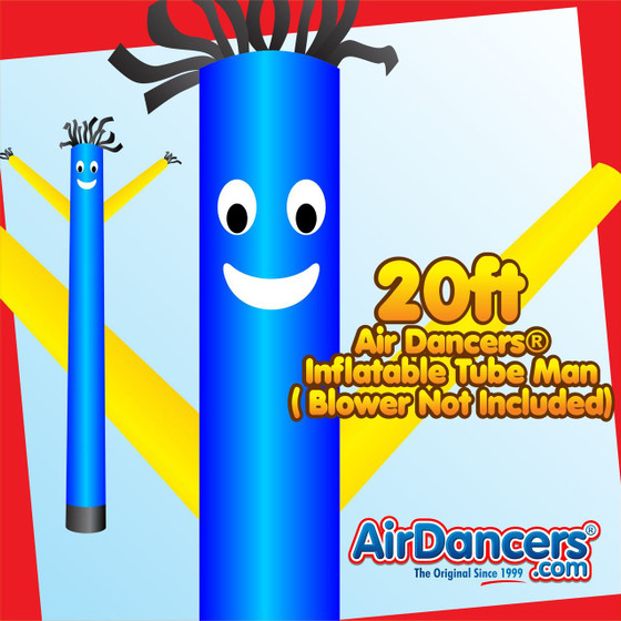 Blue Yellow Air Dancers® Inflatable Tube Man 20ft by AirDancers.com