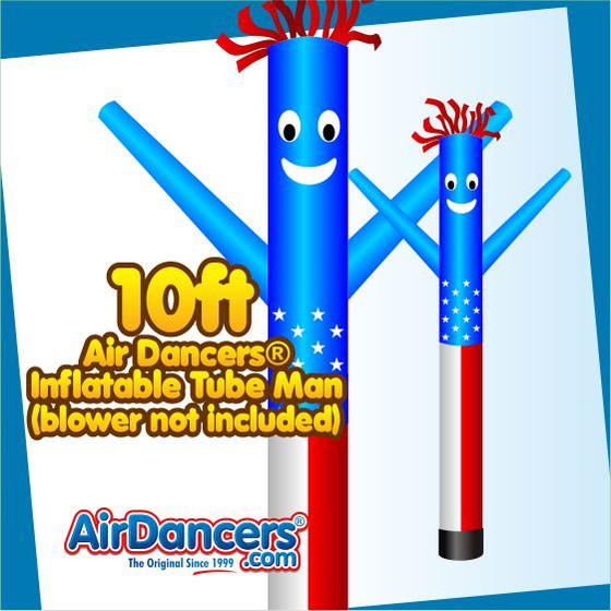 American Flag Air Dancers® Inflatable Tube Man 10ft