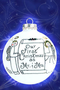 Our First Christmas as Mr. and Mrs. hand painted glass ornament