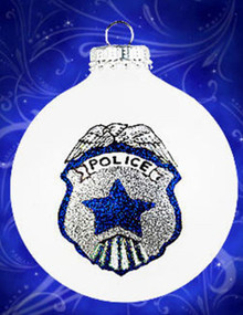 Police Shield hand painted glass ornament