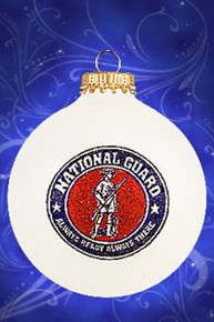 National Guard hand painted glass ornament