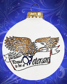 Veteran hand painted glass ornament