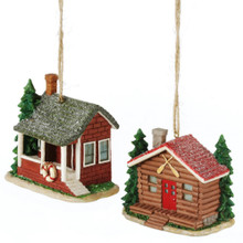 Rustic Cabin Ornament - Set of 2 Assorted