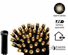 LED Durawise warm white twinkle lights - 47', black cable, 192 lights