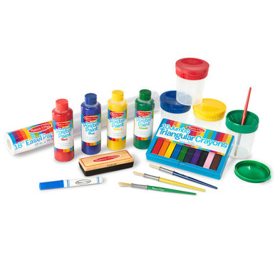 """Everything your young artist needs when inspiration strikes: Four eight ounce bottles of vibrant poster paint (R/B/Y/G), four spill-proof paint cups, four medium sized brushes, an 18"""" wide roll of easel paper, a 10-pack of jumbo rainbow chalk, an eraser and a dry erase marker. This generous set of kids' art supplies is the perfect companion for our Standing Wooden Art Easel."""