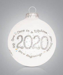 2020 Silver Hand Painted Glass Ornament