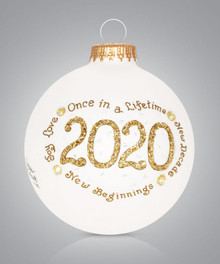 2020 Gold Hand Painted Ornament