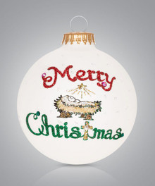 Merry Christmas Manger Hand Painted Glass Ornament