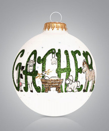 Gather Around the Manger Hand Painted Glass Ornament