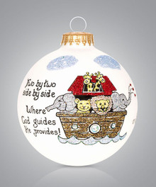 Noah's Ark Hand Painted Glass Ornament