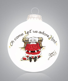 Santa Kneeling Hand Painted Glass Ornament