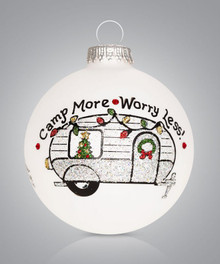 Camper Hand Painted Glass Ornament