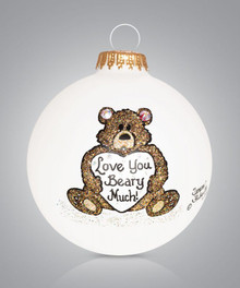 Bear Love Hand Painted Glass Ornament