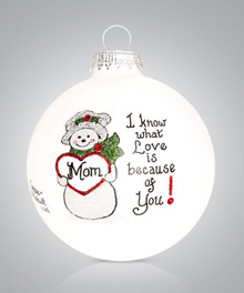 Mom Snowman Hand Painted Glass Ornament