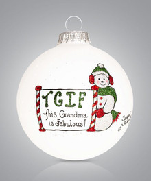 Fabulous Grandma Hand Painted Glass Ornament