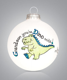 Grandson Dino Hand Painted Glass Ornament