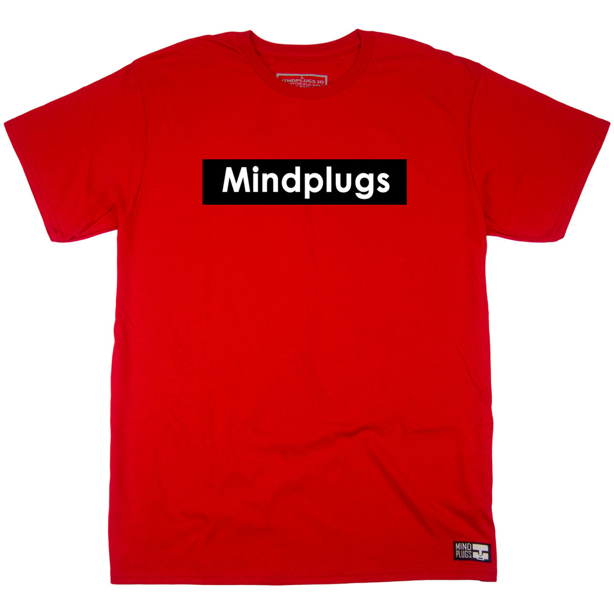 a4e0d206e5a Classic Mind Plugs Red Graphic T-Shirt Featuring A White Font On A Black  Rectangle