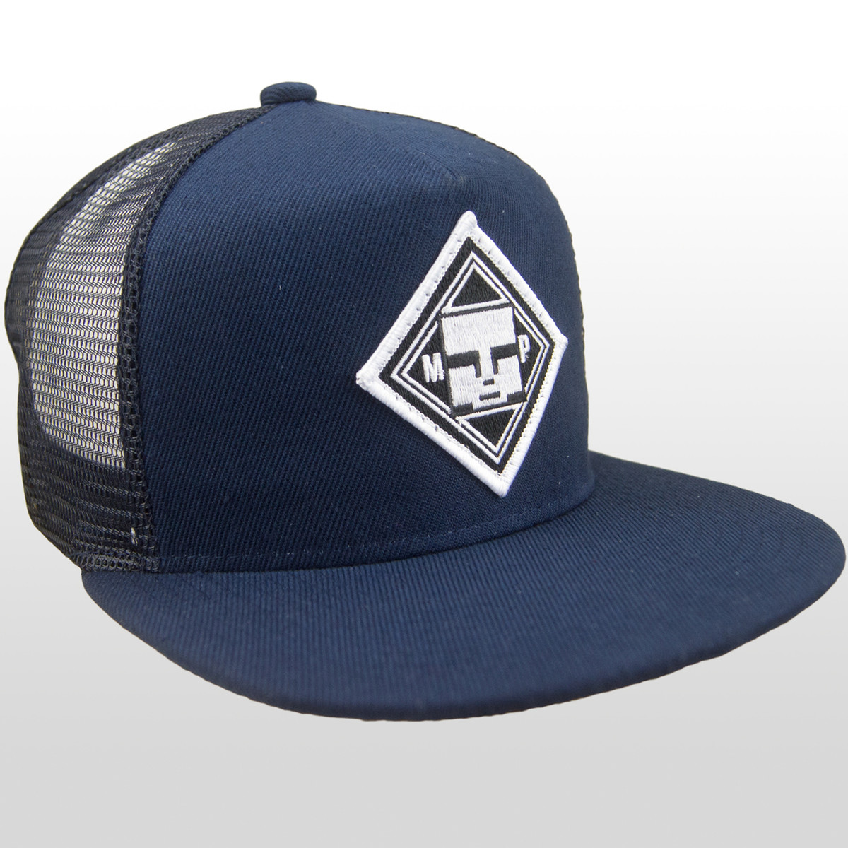 Front view of our Authentic Mind Plugs Navy Blue trucker hat with a firm  flat brim 8eda9bba0fc