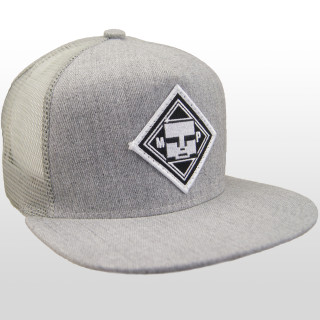 2574bc708a9 Front view of our Authentic Mind Plugs Grey Denim trucker hat with a firm  flat brim